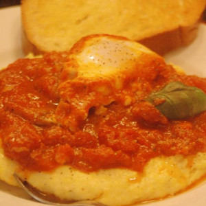 Poached Eggs in Tomato Sauce over Polenta