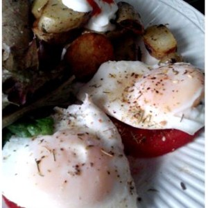 Tomato and Eggs with Fennel Pollen and Roasted Potatoes