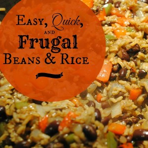 Beans and Rice: A quick, easy, frugal dinner idea