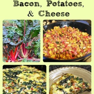 Swiss Chard Frittata with Bacon, Potatoes, and Cheese