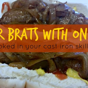 Beer Brats with Onions Cooked in Cast Iron