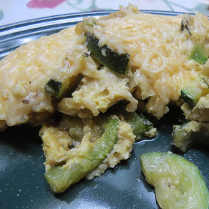 Zucchini and Onion Frittata Adapted to the Dutch Oven