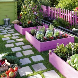 cute painted raised beds
