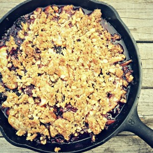 Pear and Blackberry Crisp in a Skillet