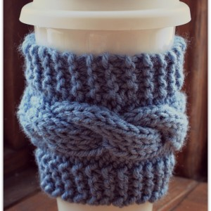 Knitting Beginner Cable Coffee Cozy