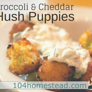 Broccoli & Cheddar Hush Puppies (Using Broccoli Stems)