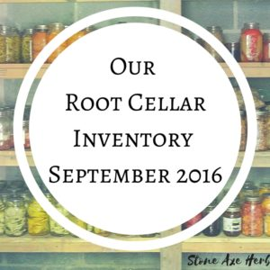 Our Root Cellar Inventory: September 2016