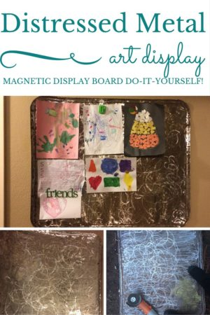 Distressed metal a magnetic childrens art display board display kids artwork or other papers thats not the standard cute but done chalkboard this is a super cute nearly free and rustic diy alternative solutioingenieria Gallery