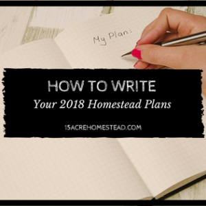 How to Write Your 2018 Homestead Plans