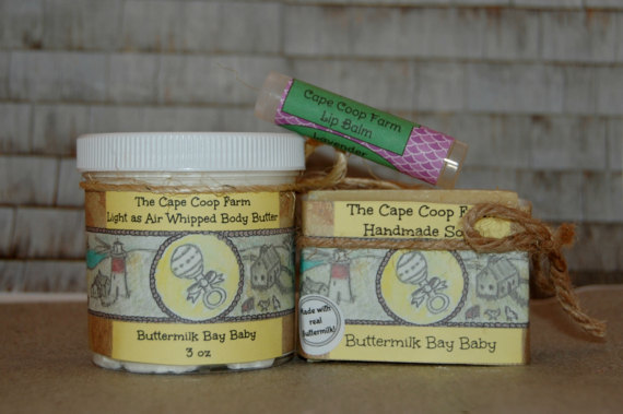 Homemade natural ingredient body care set for babies or sensitive skin.