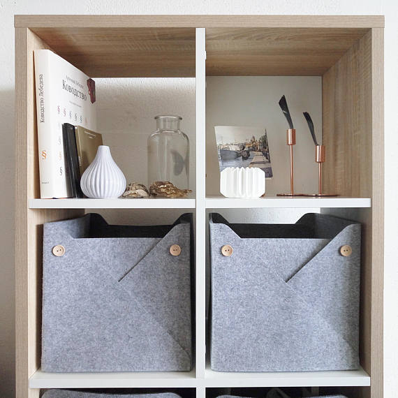 Sturdy felt storage boxes for cubbies and shelves - how awesome are these?