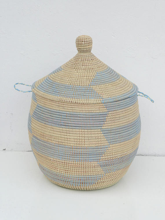Woven chevron laundry hamper basket by African Baskets artisan crafters