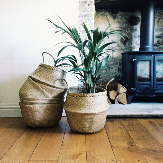 Natural seagrass baskets for gorgeous, delicately textured storage