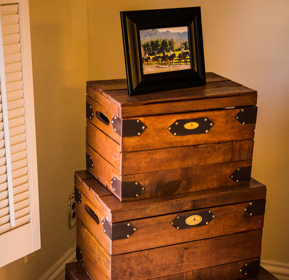 Rustic crates with lids for amazing storage options